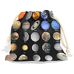 Solar System Velvet Drawstring Gift Bag Wrap Present Pouches Favor for Jewelry, Coin, Holiday, Birthday, Party, 12.6X17 Inches