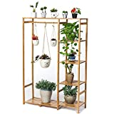 Bamboo Flower Racks, Living Room Multi-storey Plant Rack, Hanging Type Potted Display Stand, Multi-functional Storage Rack