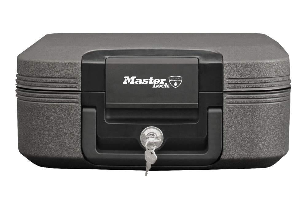 Schutz vor Feuer Gr/ö/ße M Master Lock Feuerbest/ändige und wasserdichte Sicherheitskassette mit Schl/üsselschloss Wasser Diebstahl