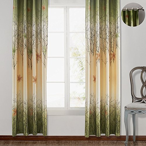 (ChadMade Maple Leaf Print Polyester With Blackout Lined Window Curtain Drape Pinch Pleat 57