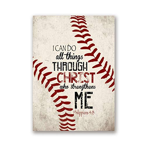 Baseball Vintage Posters Art Prints, Christ Quotes Canvas Painting Boy Room Retro Picture Wall Decor,A4 21x30 cm No Frame,PH629