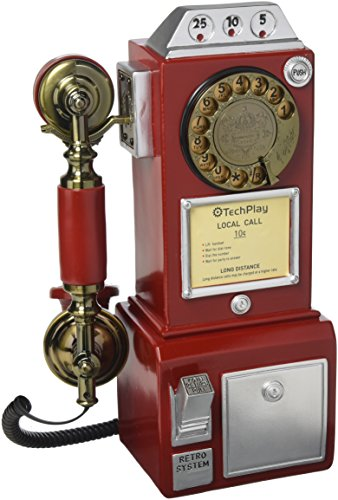 TechPlay CP26 Retro Classic Rotary Dial public phone with classic handset design.
