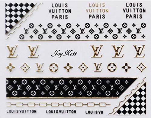 (JoyKott 3D Luxury Brand LV Coco Chanel Gucci Nail Art Stickers)