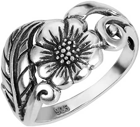 Sterling Silver Karen's Flower Ring (Sizes 2-15)
