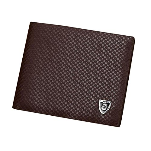 VIASA Lightweight, Portable and Fashionable VIASA Men PU Leather Credit/ID Card Holder Billfold Short Walletr (Coffee)