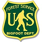 US Forest Service BIGFOOT DEPT Sticker (funny sasquatch hunter big)