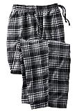 KingSize Men's Big & Tall Flannel Plaid Pajama Pants, Black Plaid Big-6XL