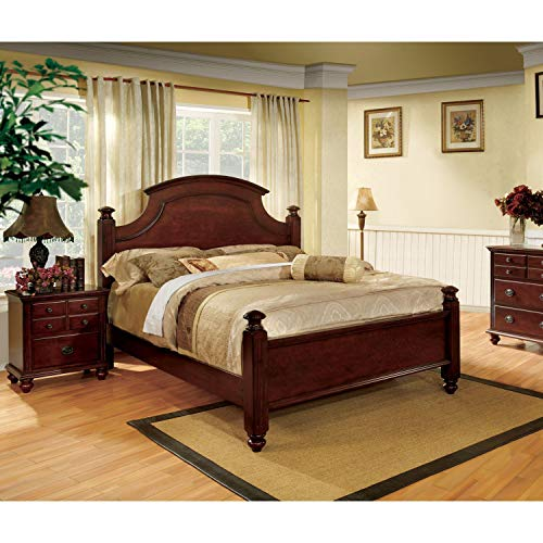 Furniture of America European Style 2-Piece Cherry Poster Bed with Nightstand Set King ()