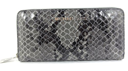 Michael Kors Jet Set ZA Continental Python Embossed Leather Dk Slate by Michael Kors