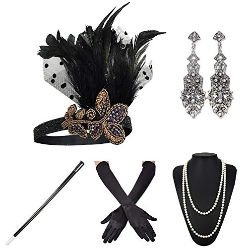 ZeroShop 1920s Accessories Headband Earrings Necklace Gloves Cigarette Holder (Medium, M36)
