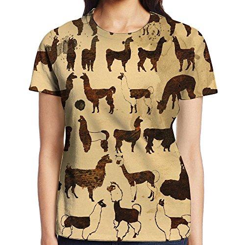 African Llama Art Full Print Women Funky Tee Training Undershirt