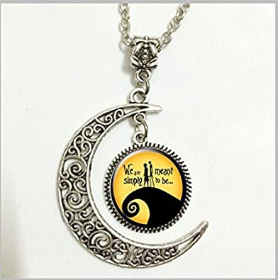 charm crescent moon nightmare before christmas pendant necklace love gift for girlfriend wife romantic
