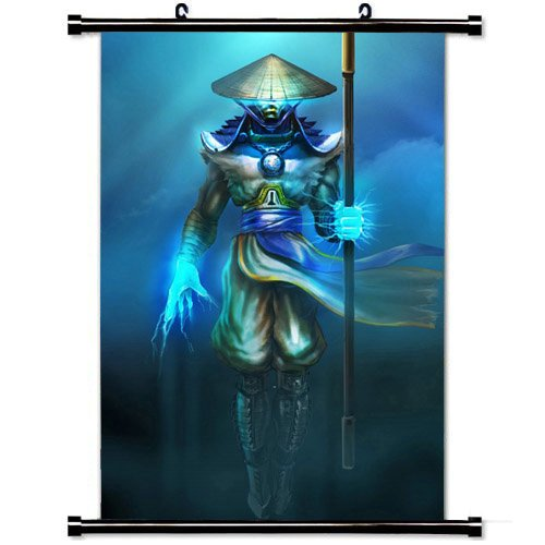 Wall Scroll Poster with Mortal Kombat Raiden Mk Home Decor Wall Posters Fabric Painting 23.6 X 35.4 -