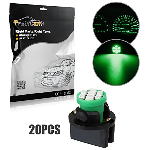 Partsam 20pcs Green T10 194 168 W5W LED Light Bulb 8-Epistar-SMD With Sockets Instrument Panel Speedometer Odometer Temp Gauges Lighting Indicators - 93 Temp Probe