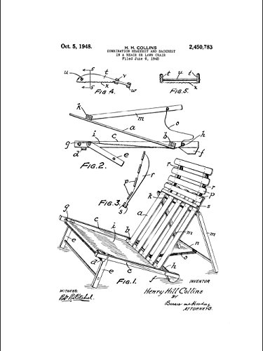 Framable Patent Art Original Ready to Frame Décor Cottage Rustic Beach Chair Vacation 8in by 10in Poster Print White PAPXSSP237W from Framable Patent Art