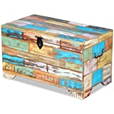 Fesnight Reclaimed Wood Storage Chest Lockable Wooden Storage Box Trunk Cabinet with Handles for Bedroom Closet Home Organizer Collection Furniture Decor 28.7″ x 15.4″ x 16.1″(L x W x H) For Sale