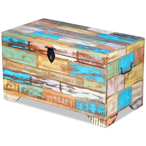Fesnight Reclaimed Wood Storage Chest Lockable Wooden Storage Box Trunk Cabinet with Handles for Bedroom Closet Home Organizer Collection Furniture Decor 28.7