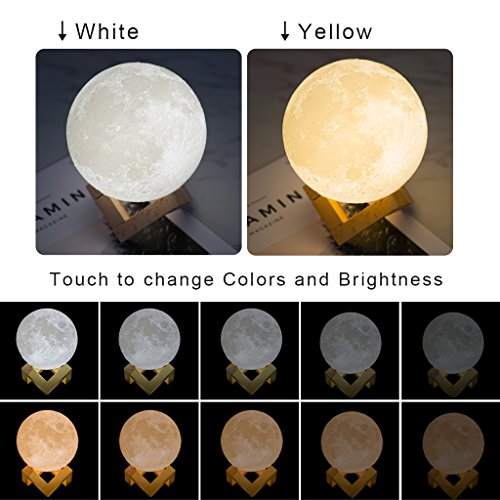 Mydethun Moon Light Night Light for Kids Gift for Women Moon Lamp USB Charging and Touch Control Brightness Two Tone Warm and Cool White Lunar Lamp (4.7IN) by Mydethun (Image #3)