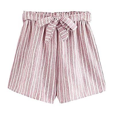 RAINED-Women's Summer Striped Shorts Casual Elastic Waist Self Tie Belt Shorts Wide Leg Pants Beach Shorts