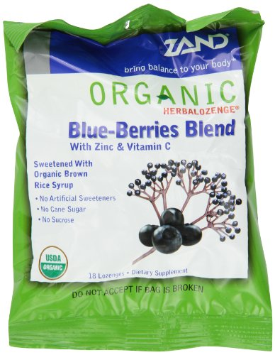 ZAND Herbalozenge Organic Lozenges, with Zinc and Vitamin C, Blue-Berries Blend, 12 - 18 lozenge bags (216 (Organic 18 Lozenges)