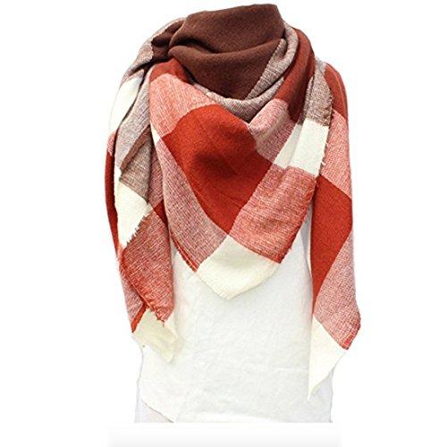 Shawl Neck (Women's Cozy Tartan Scarf Wrap Shawl Neck Stole Warm Plaid Checked Pashmina (Pink Beige))