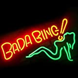 Bada Bing Green Girl Real Glass Beer Bar Pub Party Store Decor Neon Sign 19x15