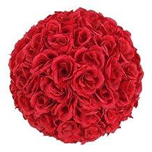 2 Pack Romantic Rose Pomander Flower Balls Rose Bridal for Wedding Bouquets Artificial Flower DIY Wine Red