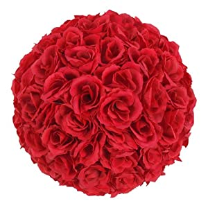 Xinlink 25cm Wine Red Artificial Silk Rose Pomander Flower Kissing Ball Wedding Party Home Decorations 100