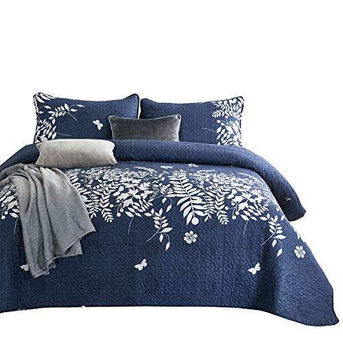 Blue Flower Set - Wake In Cloud - Navy Blue Quilt Set, Gray Grey Floral Flowers Tree Leaves Modern Pattern Printed, Soft Microfiber Bedspread Coverlet Bedding (3pcs, King Size)
