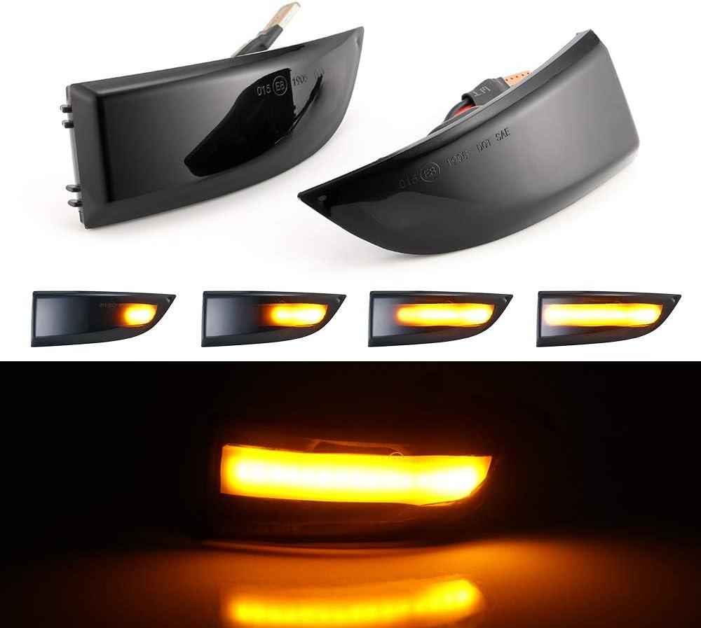Une Paire Indicateur de Miroir /à LED Clignotants Dynamiques pour Renault Megane MK3 08-16 Fluence 2019-2015 Latitude 2010-2015 Scenic 3 2009-2015 Grand Scenic 3 2009-2015