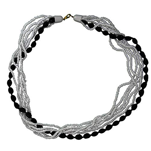 White Black Czech Glass Beaded Layered Necklace 25