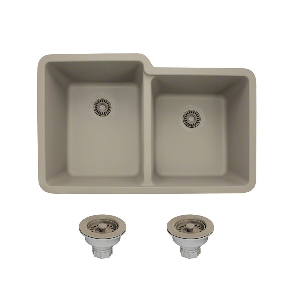 801 Double Offset Bowl Quartz Kitchen Sink, Slate, Colored Strainers