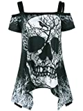 Imily Bela Women's T Shirt Off Shoulder Skull Print Mini Dress Swing Tunic Tops Plus Size