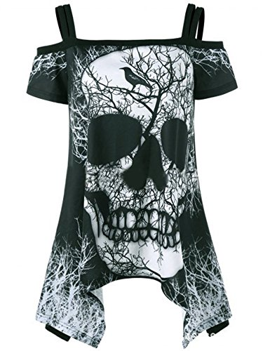 Imily Bela Women's T Shirt Off Shoulder Skull Print Mini Dress Swing Tunic Tops Plus - For Styles Different Women
