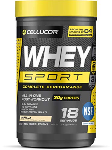 Cellucor Whey Sport Protein Powder, Post Workout Recovery Drink with Whey Protein Isolate, Creatine & Glutamine, Vanilla, 18 Servings (Cellucor Whey Best Flavor)