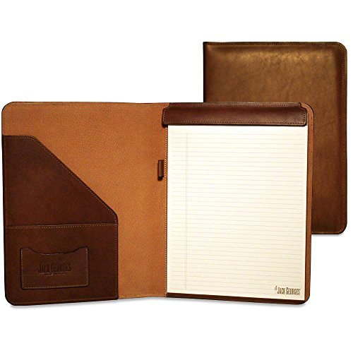 Jack Georges Belting Leather Letter Size Writting Pad Cover in Brown