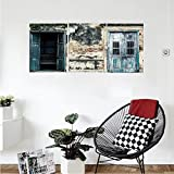 Liguo88 Custom canvas Rustic Decor Wall Hanging Doors of An Old Rock House with French Frame Details in Countryside European Past Theme Bedroom Living Room Decor Teal Grey