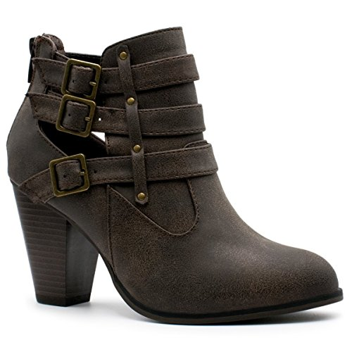 Forever Women's Buckle Strap Block Heel Ankle Booties , TPS Camila-62 v2 Brown Size 7