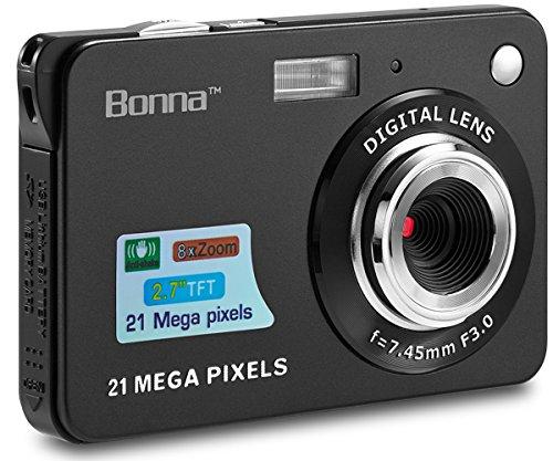BONNA 21 mega pixels 2.7'' Display HD Digital Camera Digitals - Digital video camera - Students cameras - Kids Camera -for Adult /Seniors / Kids (Black) by BONNA