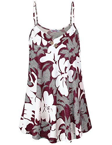 Favorite Floral Tee - Misswor Flowy Tops for Women, Womens Tops V Neck Sleeveless Tees Basic Activewear Spaghetti Strap Cami Tank Pleated Floral Print Shirts Loose Fitting Summer Blouses Red L