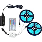 eTopxizu 2 Reels 32.8Ft RGB LED Strip Light 5050 SMD 30leds/m Full Kit Colorful IP65 Waterproof Flexible LED Strip + 44key 2-Port IR Remote controller + DC12V 5A Power Adapter for Indoor/Outdoor