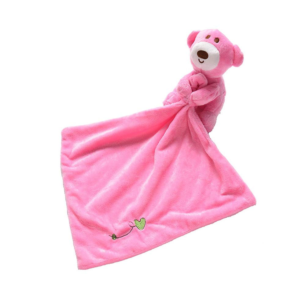 Baby Appease Towel Adorable Soft Square Towel Security Blanket Plush Stuffed Cartoon Animal Pacifying Towels Comforter Bedtime Cuddle Toy Gift for Kids Boys Girls Pink