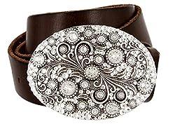 Genuine Leather Belt With Swarovski Crystal Buckle