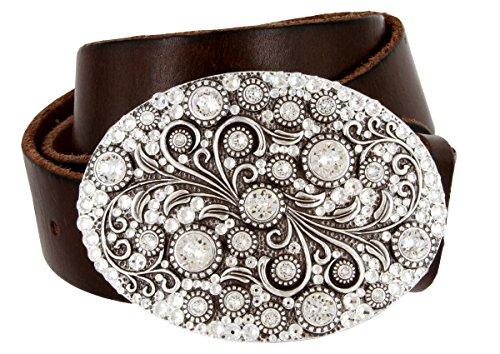 Timeless Tranquility Swarovski Crystal Floral Buckle Genuine Leather Belt for Women (Brown, 34)