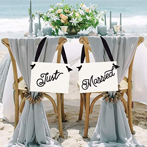 Just Married Signs for Wedding Chairs | Set of 2 Wedding Banners | White Paper Black Ink & Ribbon