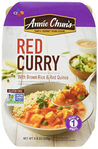 Quick Lunch - Annie Chun's Red Curry with Brown Rice & Red Quinoa, Non-GMO Gluten-Free Ready Meal, 9-oz (Pack of 6)