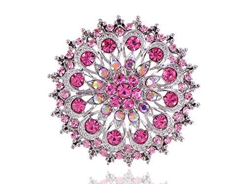 Alilang Light Rose Crystal Rhinestone Statement Umbrella Flower Ring Adjustable