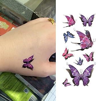 5549e1a3dd1a4 Amazon.com : Oottati 3D Vivid Purple Butterfly Hand Temporary Tattoo (2  Sheets) : Beauty