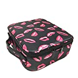 Mscoreray Travel Makeup Case Cosmetic Bag Organizer 10'' with Adjustable Removable Divider Compartments (Kiss Lips Print)