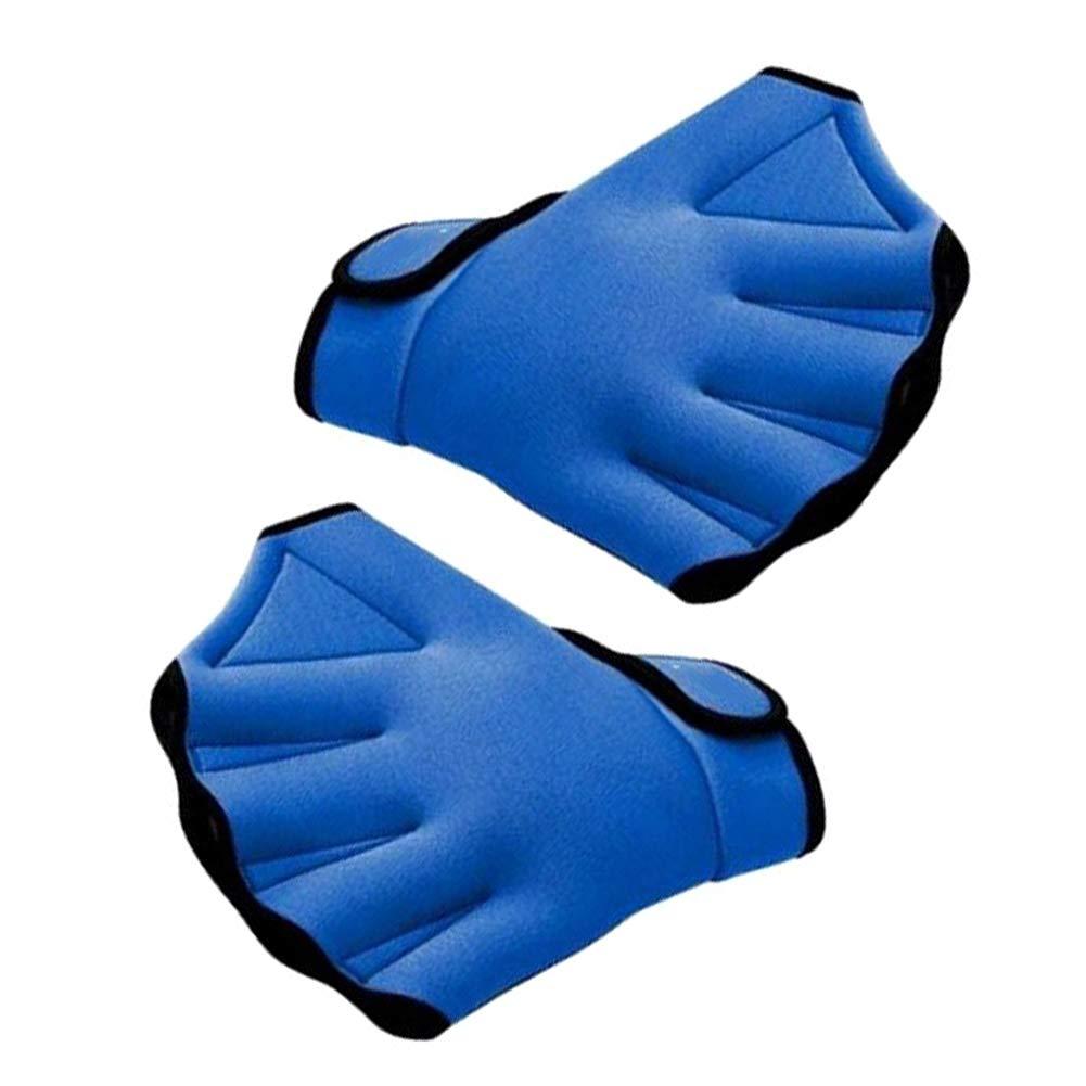 Schwimmen Hand Paddles Trainingsschwimm Handschuhe Fingerless Vernetzter Wasserbest/ändigkeit 1 Paar Handschuhe Schwimmen Blau